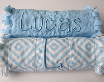 Monogram Burp Cloth | Set of Two | Blue White | Baby Boy Gift Set