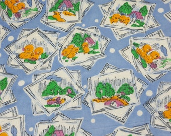 vintage 50s rayon juvenile fabric featuring cute ducks print, 1 yard, 2 available priced PER YARD