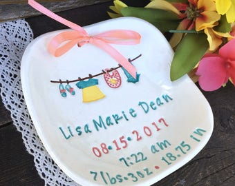 Personalized Baby Girl Birth Plate - Gift for Baby - Baby Plate Personalized - Girls Birth Announcement Plate w/ Birth Stats - New Mom Gift