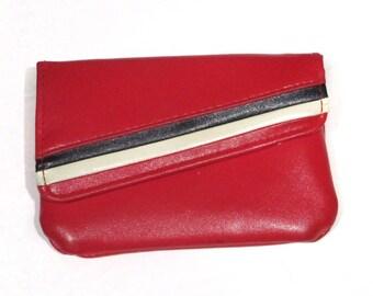 Vintage Red Wallet W. Black & White Stripes Retro Mod Style 60s 70s 80s