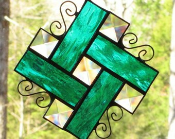 Stained Glass Suncatcher - Bevels with Teal Green Waterglass Border and Curly Cue Wire
