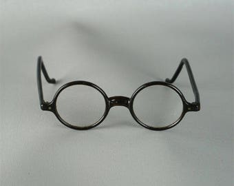 Vintage 1920s Eyeglasses Black Plastic Round Wellsworth Spectacles Sz S