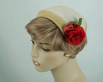 Vintage 1950s Hat Ivory Straw Clip or Half with Red Rose