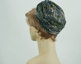 Vintage 1960s Hat Turban Style Pillbox Teal Blue Paisley
