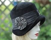 20s Cloche Hat Classic Downton Abbey Fall Winter Great Gatsy Flapper Black Fabric  Evening