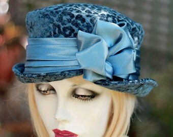 Hat Downton Abbey 20's Bucket Hat in  Designer Blue Fabric