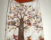 Fall Woodland Towel - Hanging Kitchen Towel - Crochet Top Towel - Woodland Animals - Fox, Raccoon, Owl, Squirrel Towel - Hanging Dish Towel