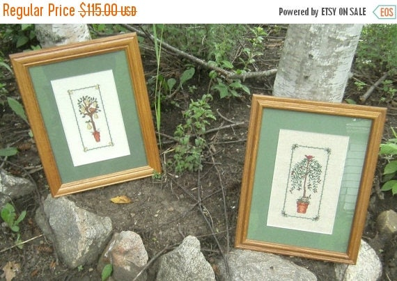 Spring Sale Cross Stitch Pictures - Trees - Matted and Framed - Set of 2 Pictures - Hand Stitched - Fruit Tree - Leafy Tree - Green Matting