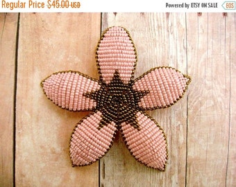 INVENTORY CLEARANCE Hair Piece or Brooch Pin - Pink and Bronze Art Deco Style Beaded Flower Hair Clip - Ododo Originals Bridal