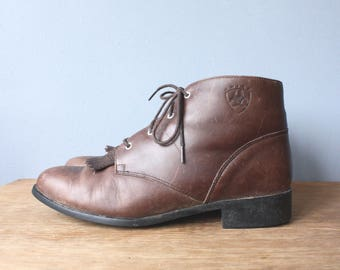 vintage ariat hiking boots / brown leather faux fur lined ankle boots / unisex fringe boots / mens 10.5 womens 11.5