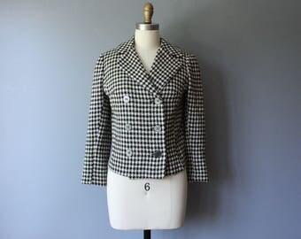 vintage 60s herringbone jacket / double breasted short jacket / black & white cropped jacket