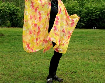 Chiffon Ruana, Shawl, Beach Coverup, Poncho, Scarf or Wrap--Sheer and Cool--Fun in the Summertime--One Size Fits Most Gypsies