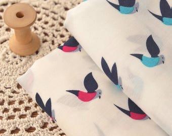 4659 - Bird Rayon Fabric - 55 Inch (Width) x 1 Yard (Length)