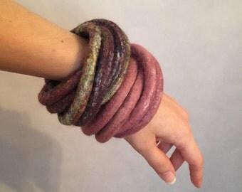 Rose Felted Bracelet / Pink Felted Bangles / Modern Bracelet / Fiber Art / Yoga / from my Twisted Felt Collection