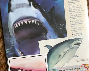 Great White Shark Vintage Ocean Collage, Scrapbook and Planner Kit Number 2357