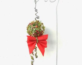 Miniature Fairy Christmas Ball with Pretty Shepherd's for the Miniature Garden, Fairy Garden or Terrarium, Christmas,