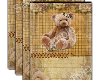 INSTANT DOWNLOAD  -Jewelry Holder - Gift Tag - Rustic Teddy Bear Notes No. 2 - Scrapbook Embellishment - Printable Digital Collage Sheet