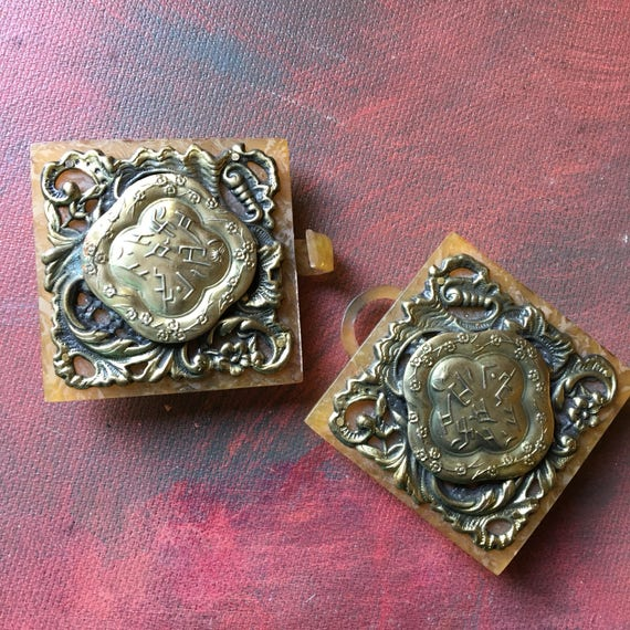 Elaborate Celluloid and Metal 1920s Belt Buckle