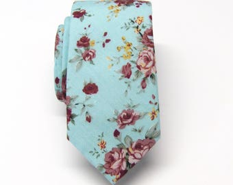 Cotton Mens Tie. Cotton Blue Maroon Yellow Floral Skinny Tie With Matching Pocket Square Option