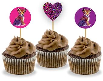 Lisa Frank Leopard Cupcake Toppers - Printable - Digital Download