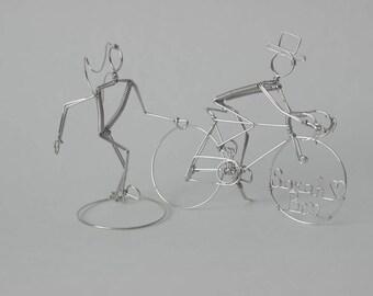 Bicycle Wedding Cake Topper Runner Bride & Cyclist Groom: LOVE ADVENTURE