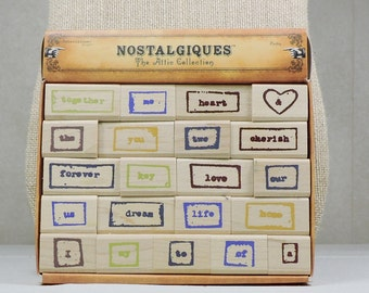 Rubber Stamps Wood Mounted Words by EK Success 21 Stamps Gently Used
