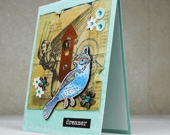 Handmade Greeting Card, bird with goggles