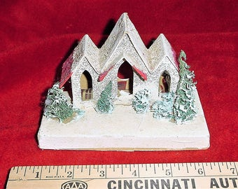 Vintage Tri Roof Putz House Mica Japan Christmas As Is