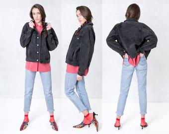black OVERSIZE DENIM jacket JEAN vintage women 90s coat boxy / Medium Large / better Stay together