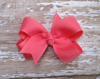 Small Hot Pink Grosgrain Hair Bow for Baby, Toddler, Infant, Boutique Hairbow
