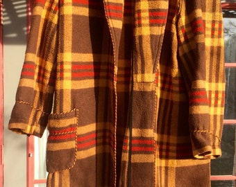 Vintage BEACON BLANKET ROBE Warm Brown Red Plaid Large 46 All Cotton