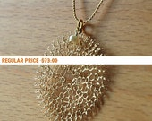 Holiday Sale - PEARL - Unique gold knitted large flower pendant necklace with a fresh water pearl,  jewelry June
