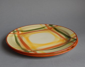 2 Vernonware Homespun Dinner Plates 10 1/2 inches wide