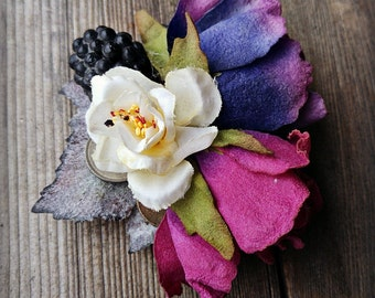 Purple Sunset Rose - Fae ATS or Tribal Fusion Belly Dance Hair Clip
