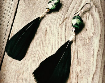 Ruby in Zoisite and Black Feather Bohemian Earrings