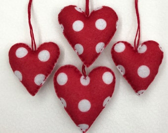 Red felt heart ornament set of four