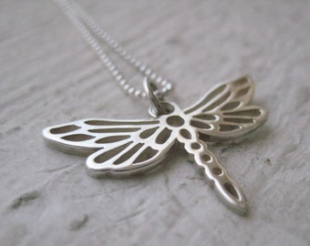Dragonfly Necklace- Sterling Silver, Chain, Simple, Everyday Jewelry, Gift, Nature