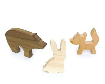 Woodland Animal Organic Play Set - Wooden Toy Animals - Imaginative Play Toys - Solid Wood Safe Toys - Cute Kids Animal Toy - TY39