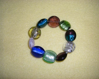 Lampwork Glass Beaded Stretch Bracelet, handmade statement bracelet, lampworked colorful coin beads