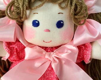 Fabric Doll, Sew Sweet Emma Doll, Child Friendly, 13 inches tall