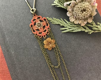 Floral Boho Necklace, Boho Jewelry, Nature Inspired, Flower Necklace, Red Pendant, Hippie Necklace, Bohemian Necklace, Layering Necklace