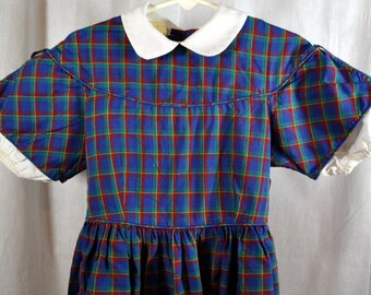 Vintage Kate Greenaway Little Girls Plaid Cotton Dress - By Kate Greenaway -  Size 6 - Blue Green and Red - White Collar and Under Sleeves