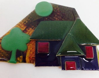 Vintage House Pins by Lucinda, Layered Plastic Brooch with Houses, Army Green, Navy and Brown, 3 x 1 3/4 inches