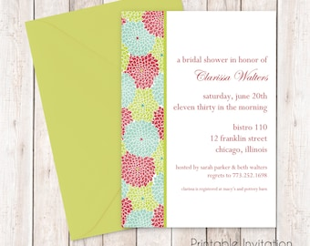 Printable Bridal Shower Invitation, Floral Bridal Invitation, Custom Wording, Print Yourself, JPEG File