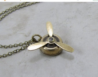 SALE Propeller Necklace Spinning  Aviation Charm Aviator Jewelry