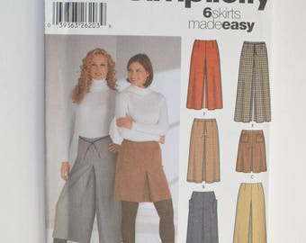 2000s Simplicity Easy Sewing Pattern 5802 Womens Skirts & Split Skirts In Three Lengths Size 6,8,10,12