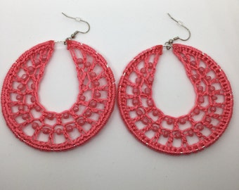 Crochet earrings, Beaded, silver, bohemian jewelry, crochet hoops, beaded earrings, crochet jewelry, hoop earrings, boho chic, pink