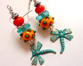 Colorful Dragonfly Dangles, Handmade Lampwork, Summer fun Earrings, Sterling Earwires