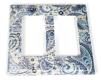 Double Rocker Light Switch Cover  Switchplate Switch Plate in  Navy Paisley  (272DR)