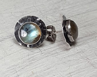 Labradorite stud Earrings Sterling Silver Textured Posts Earrings